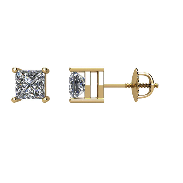 Wonderful 14 Karat Yellow Gold 0.50 Carat Total Weight Diamond Earrings