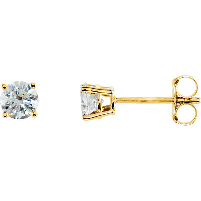 Chic 14 Karat Yellow Gold 0.50 Carat Total Weight Diamond Earrings