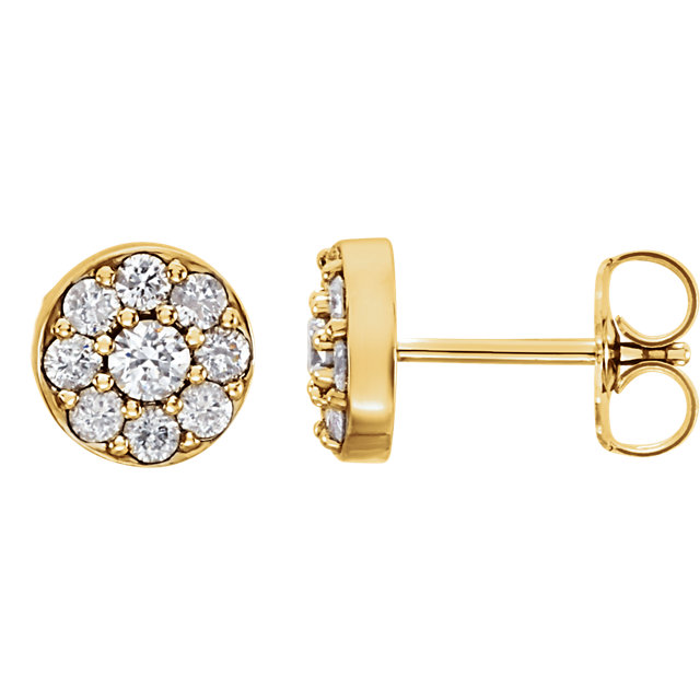 Trendy 14 Karat Yellow Gold 0.50 Carat Total Weight Round Genuine Diamond Earrings