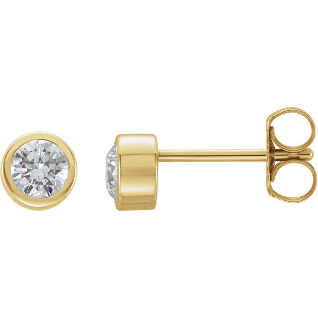 Low Price on Quality 14 KT Yellow Gold 0.50 Carat TW Diamond Earrings