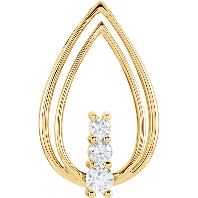 Appealing Jewelry in 14 Karat Yellow Gold 0.50 Carat Total Weight Diamond Freeform Pendant