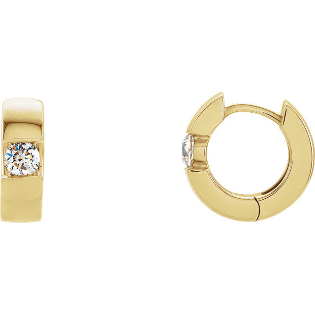 Great Gift in 14 Karat Yellow Gold 0.50 Carat Total Weight Diamond Hinged Earrings