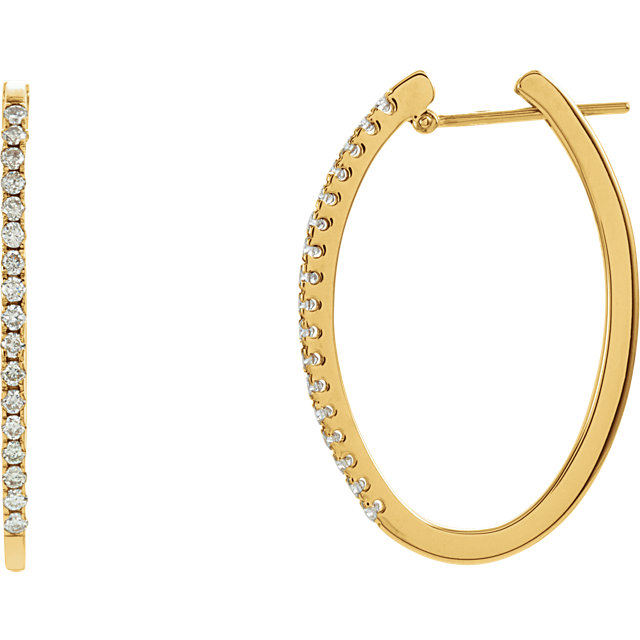 Fine Quality 14 Karat Yellow Gold 0.50 Carat Total Weight Diamond Hoop Earrings