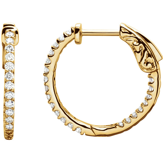Great Deal in 14 Karat Yellow Gold 0.50 Carat Total Weight Diamond Inside/Outside Hoop Earrings