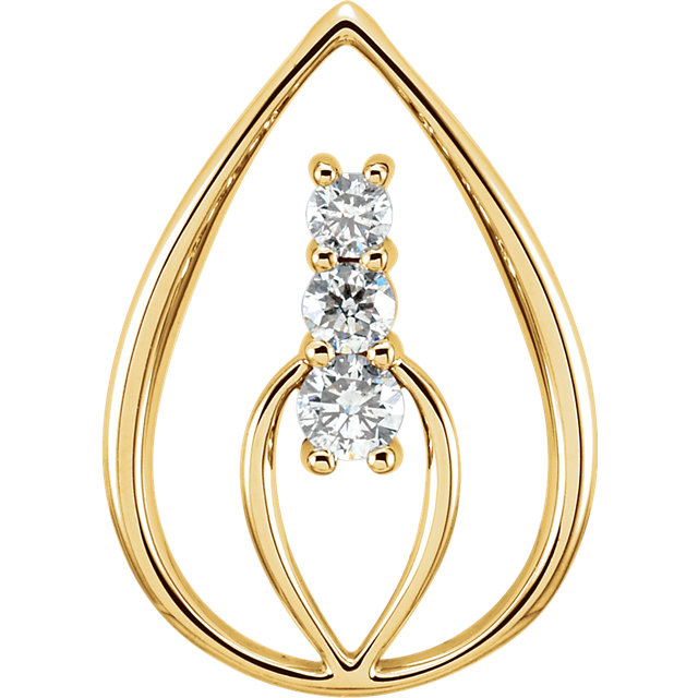 14 Karat Yellow Gold 3-Stone Pendant Mounting