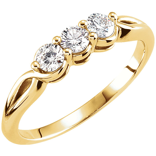 Low Price on Quality 14 KT Yellow Gold 0.50 Carat TW Diamond Three-Stone Ring