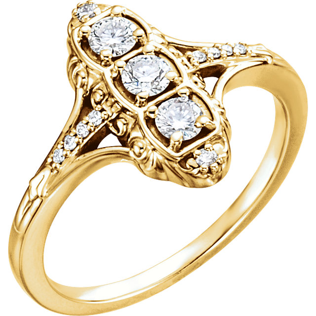 Genuine 14 KT Yellow Gold 0.33 Carat TW Diamond 3-Stone Ring