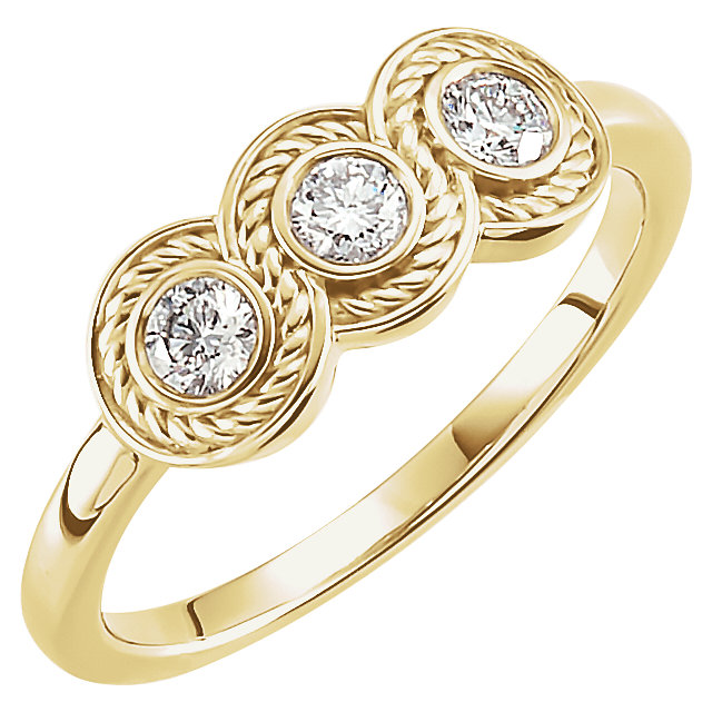 Contemporary 14 Karat Yellow Gold 0.33 Carat Total Weight Diamond Three-Stone Ring