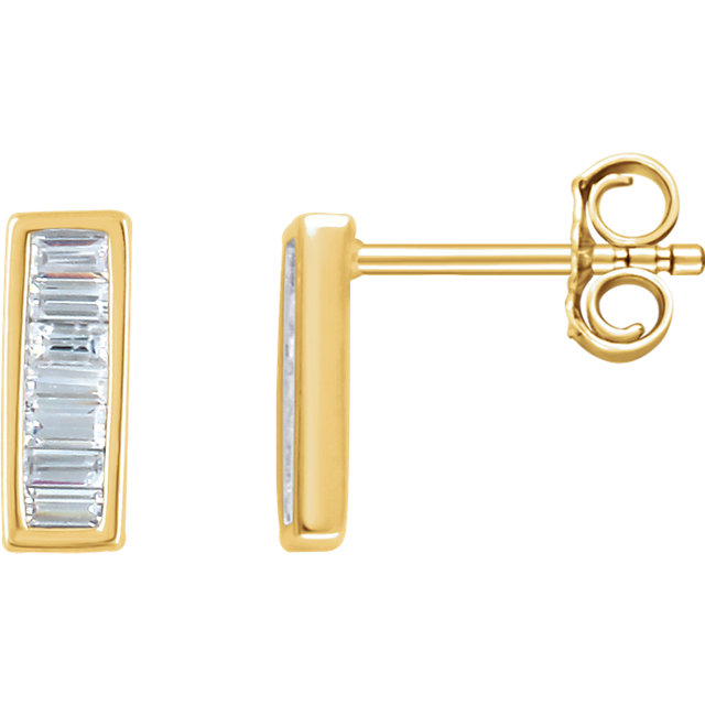 Eye Catchy 14 Karat Yellow Gold 0.33 Carat Total Weight Diamond Baguette Bar Earrings