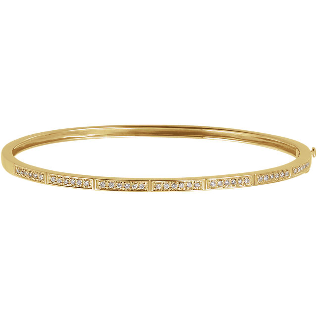 Beautiful 14 Karat Yellow Gold 1/3 Carat Total Weight Round Genuine Diamond Bangle Bracelet