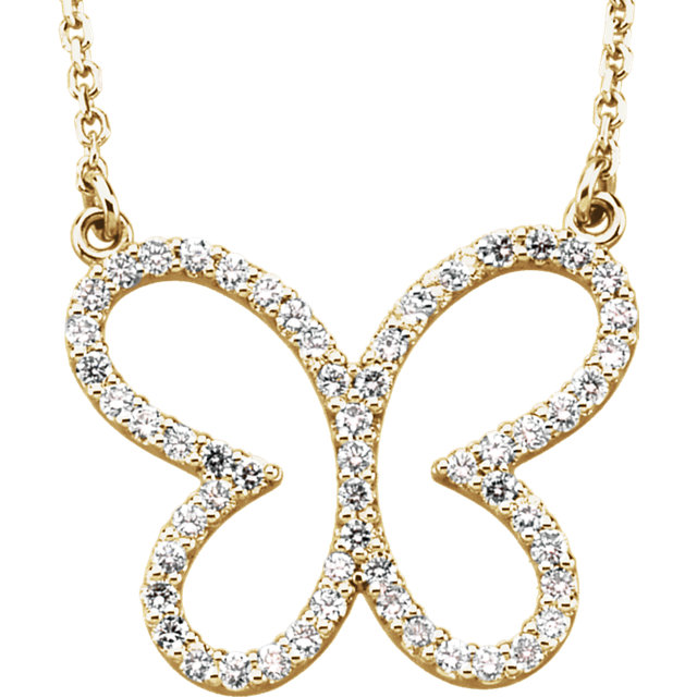 Fine Quality 14 Karat Yellow Gold 0.33 Carat Total Weight Diamond Butterfly 16