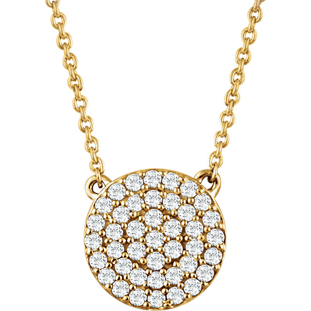 Contemporary 14 Karat Yellow Gold 0.33 Carat Total Weight Diamond Cluster 16-18