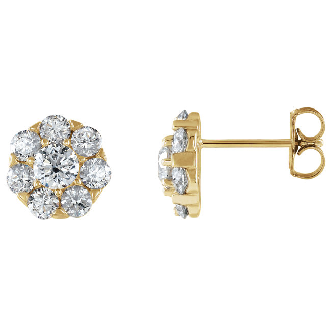 Buy Real 14 KT Yellow Gold 0.33 Carat TW Diamond Cluster Earrings