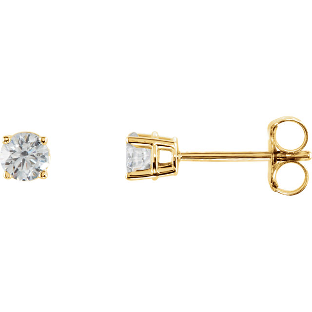 Beautiful 14 Karat Yellow Gold 0.33 Carat Total Weight Diamond Earrings