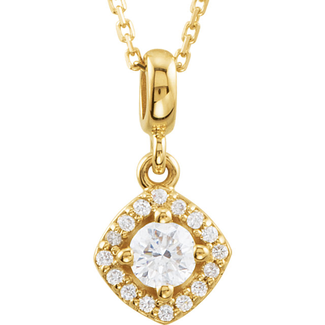 Wonderful 14 Karat Yellow Gold 0.33 Carat Total Weight Diamond Halo-Style 18
