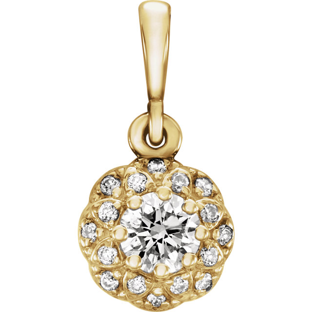 14 Karat Yellow Gold 0.33 Carat Diamond Halo-Style Pendant