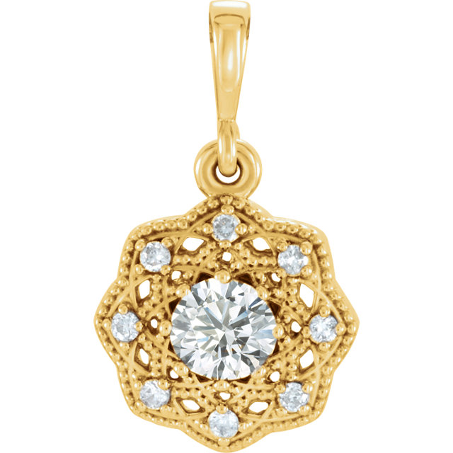 Beautiful 14 Karat Yellow Gold 0.33 Carat Total Weight Diamond Halo-Style Pendant