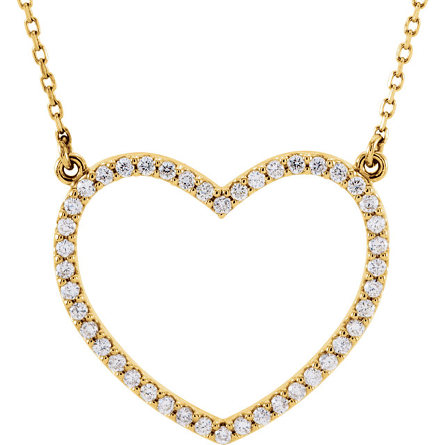 Great Gift in 14 Karat Yellow Gold 0.33 Carat Total Weight Diamond Heart 16