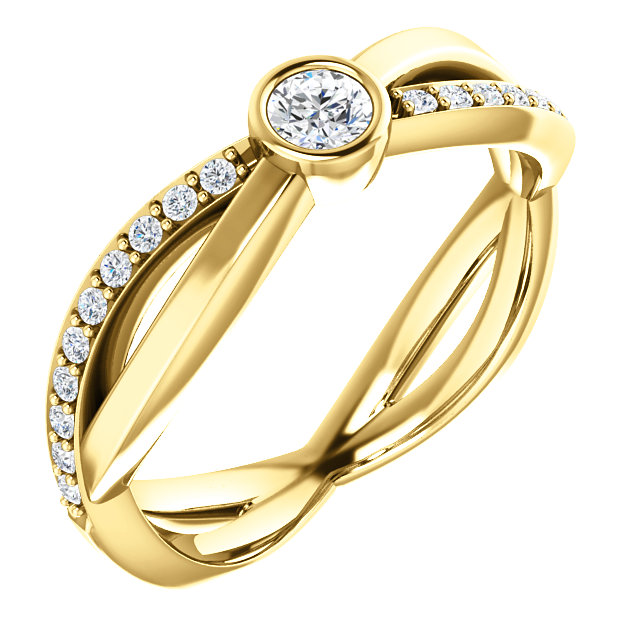 Fine Quality 14 Karat Yellow Gold 3.4mm Round 0.33 Carat Total Weight Diamond Infinity-Inspired Ring