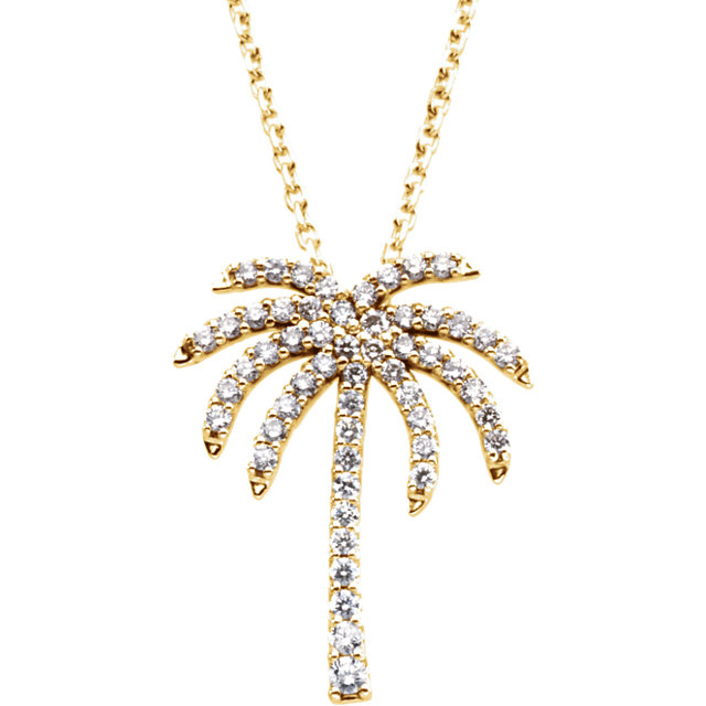 Genuine 14 Karat Yellow Gold 0.25 Carat Diamond Palm Tree 16