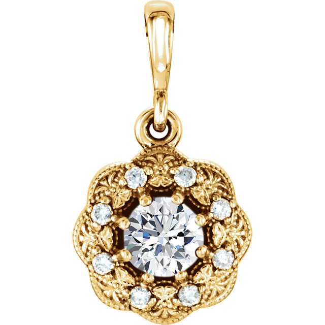 Great Buy in 14 Karat Yellow Gold 0.33 Carat Total Weight Diamond Pendant