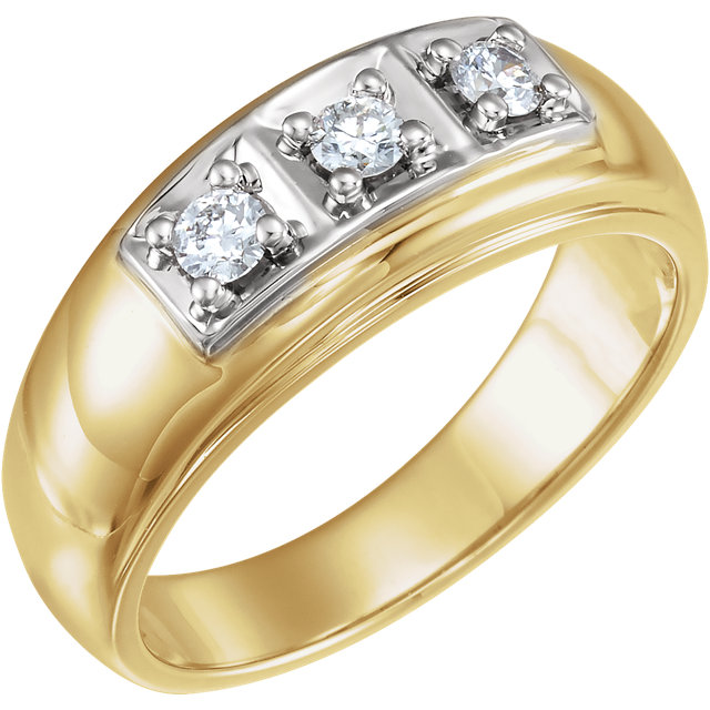 White Diamond Ring in Pleasing 14 Karat Yellow & White Gold 0.33 Carat Round Diamond Ring