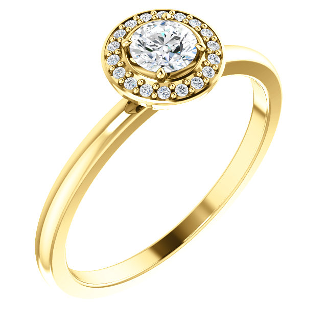 Appealing Jewelry in 14 Karat Yellow Gold 0.33 Carat Total Weight Diamond Ring