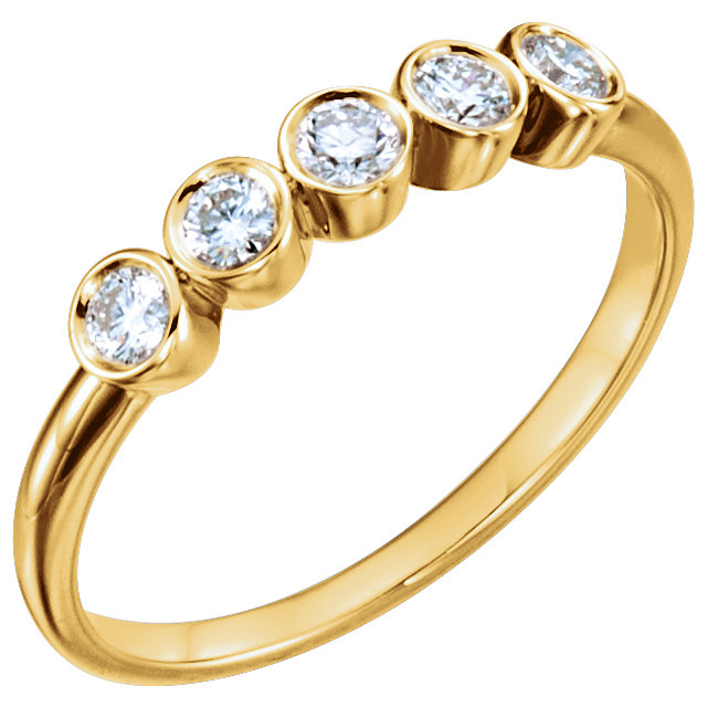Perfect Jewelry Gift 14 Karat Yellow Gold 0.33 Carat Total Weight Diamond Ring