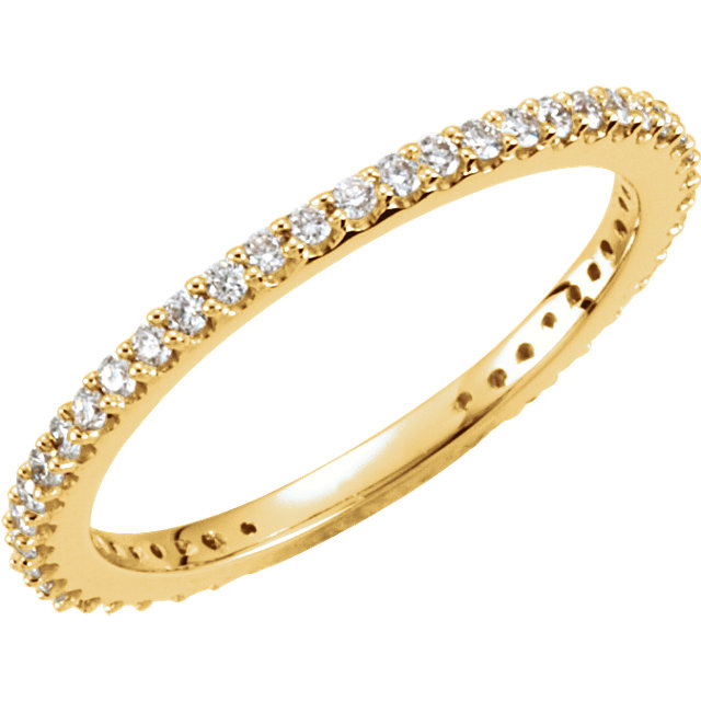 14 Karat Yellow Gold 0.33 Carat Diamond Stackable Ring Size 5