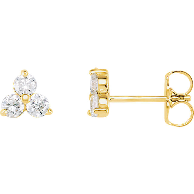 Perfect Jewelry Gift 14 Karat Yellow Gold 0.33 Carat Total Weight Diamond  Three-Stone Earrings