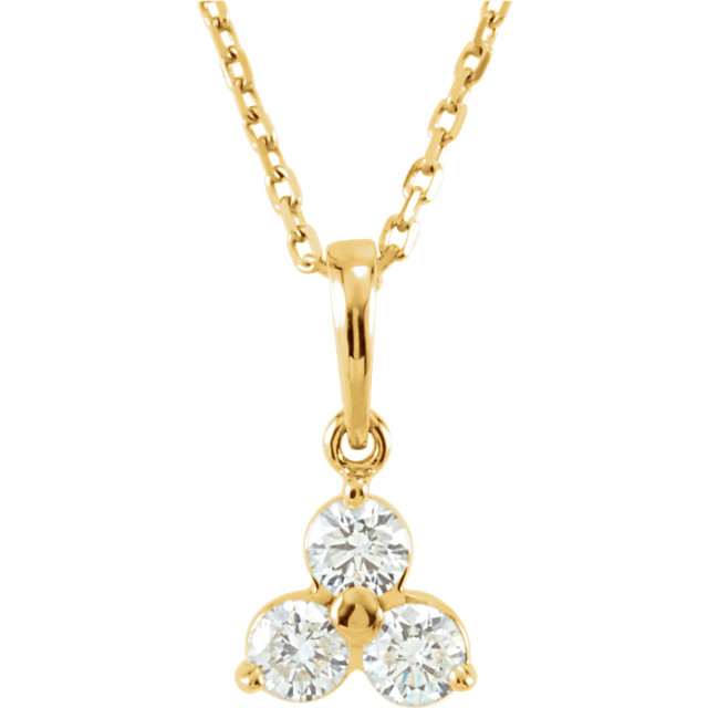 Fine Quality 14 Karat Yellow Gold 0.33 Carat Total Weight Diamond Three-Stone 18