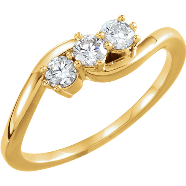 Genuine 14 KT Yellow Gold 0.33 Carat TW Diamond Three-Stone Ring