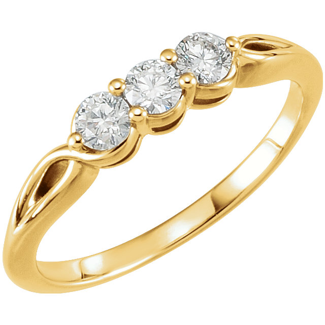 Great Deal in 14 Karat Yellow Gold 0.33 Carat Total Weight Diamond Three-Stone Ring