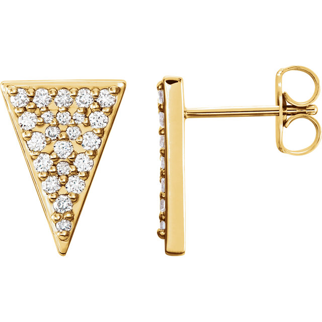 14 KT Yellow Gold 0.33 Carat TW Diamond Triangle Earrings with Backs