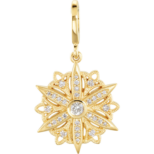 Buy 14 Karat Yellow Gold 0.33 Carat Diamond Vintage-Style Dangle Charm