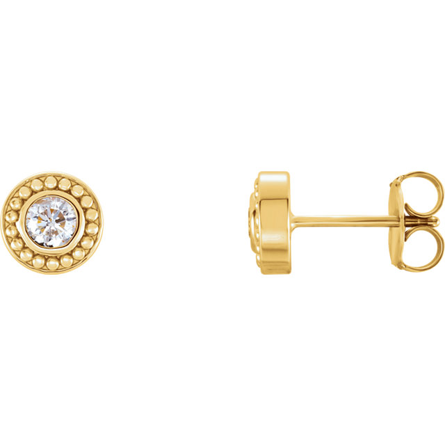 Must See 14 KT Yellow Gold 0.25 Carat TW Diamond Beaded Earrings
