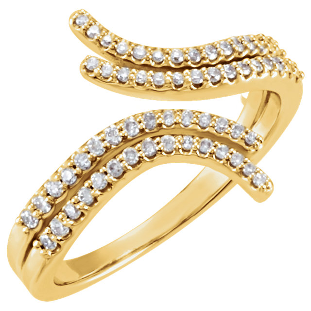 14 KT Yellow Gold 0.25 Carat TW Diamond Bypass Ring