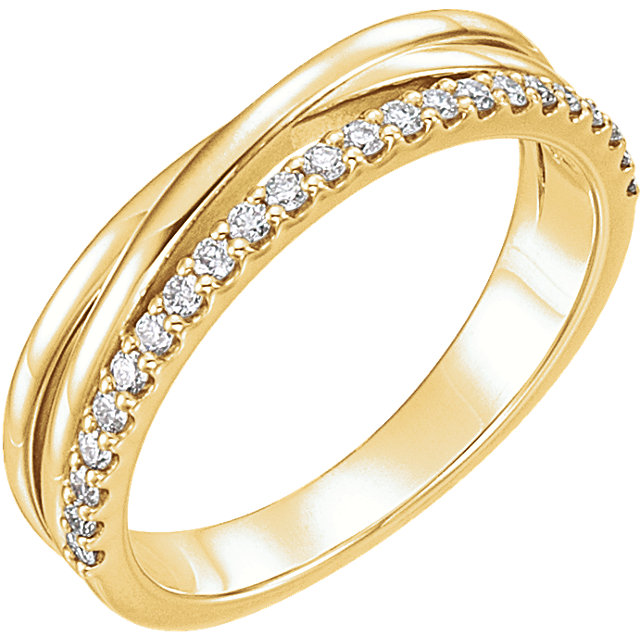 Appealing Jewelry in 14 Karat Yellow Gold 0.25 Carat Total Weight Diamond Criss-Cross Ring