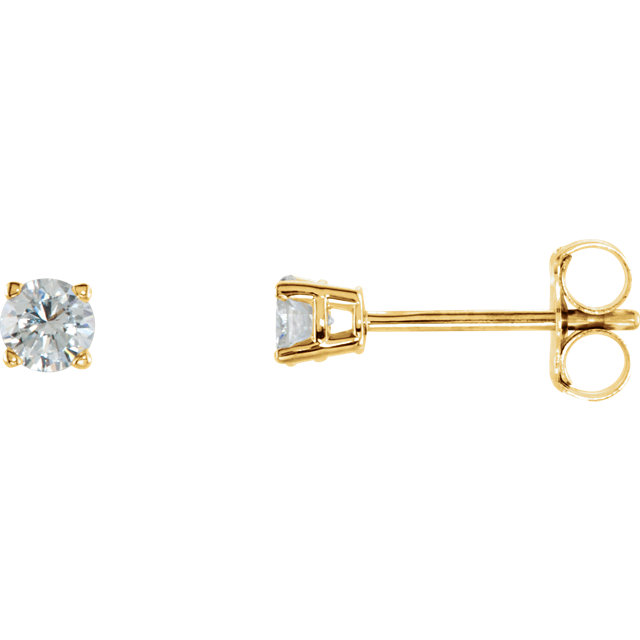 Great Deal in 14 Karat Yellow Gold 0.25 Carat Total Weight Diamond Earrings