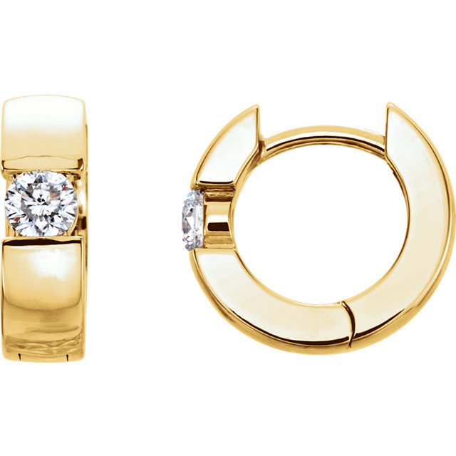 Surprise Her with  14 Karat Yellow Gold 0.25 Carat Total Weight Diamond Hinged Earrings