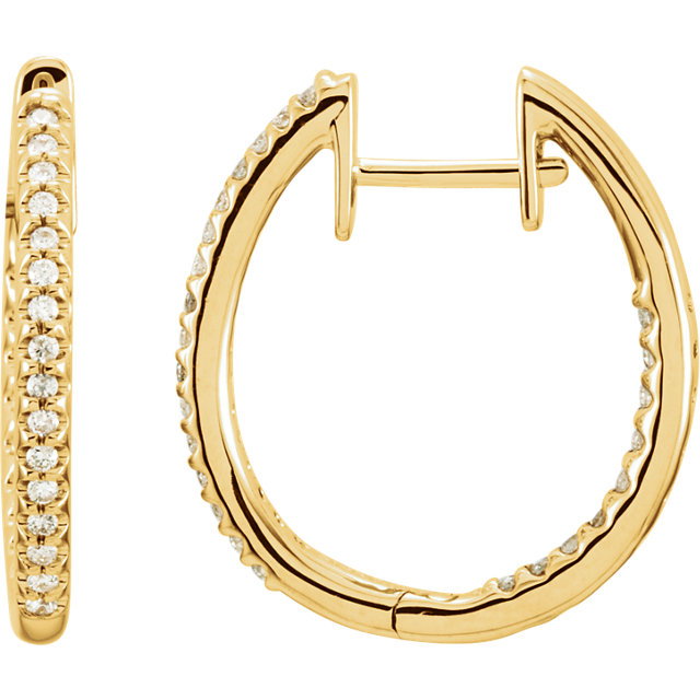 Very Nice 14 Karat Yellow Gold 0.25 Carat Total Weight Diamond Hinged Inside-Outside Hoop Earrings