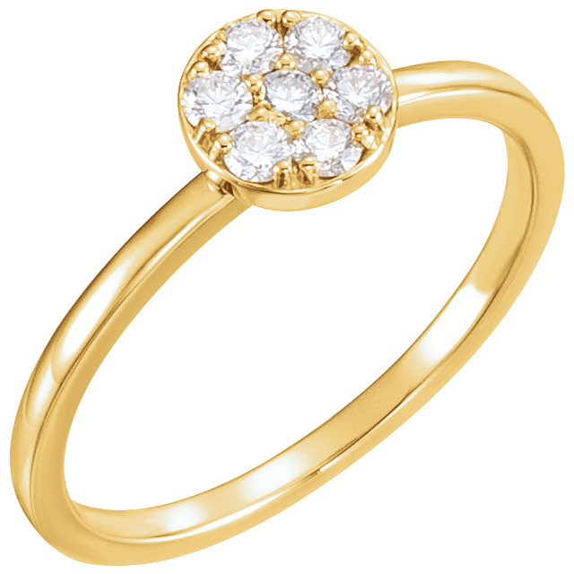 14 Karat Yellow Gold 0.20 Carat Diamond Stackable Cluster Ring