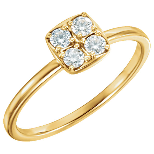 14 Karat Yellow Gold 0.25 Carat Diamond Stackable Ring