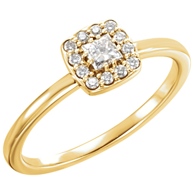 Fine 14 KT Yellow Gold 0.25 Carat TW Diamond Stackable Ring