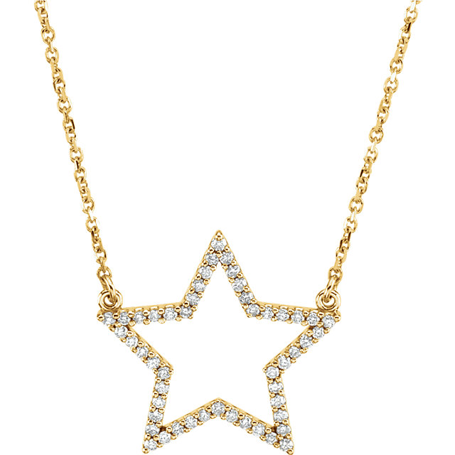 Must See 14 Karat Yellow Gold 0.25 Carat Total Weight Diamond Star 16