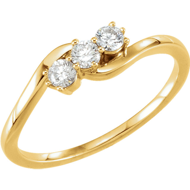Perfect Gift Idea in 14 Karat Yellow Gold 0.25 Carat Total Weight Diamond Three-Stone Ring