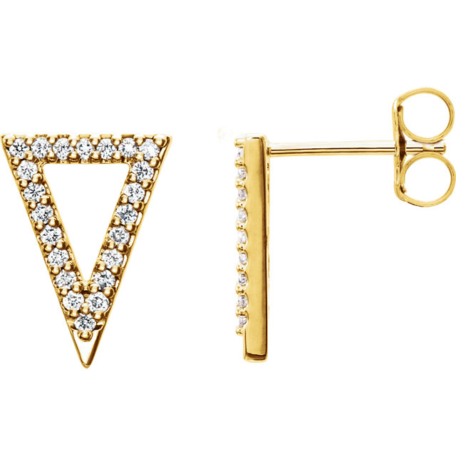 Low Price on 14 KT Yellow Gold 0.20 Carat TW Round Genuine Diamond Triangle Earrings