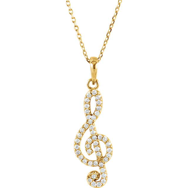 Easy Gift in 14 Karat Yellow Gold 0.25Carat Total Weight Diamond Petite Treble Clef 16