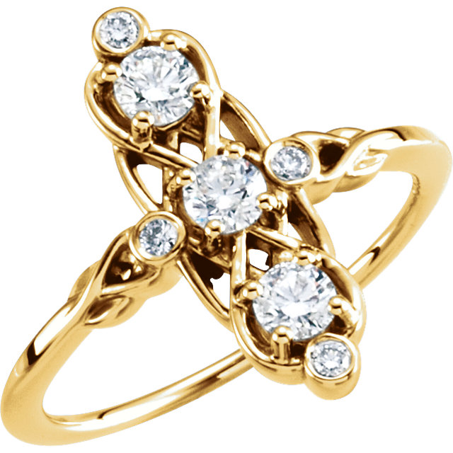 Appealing Jewelry in 14 Karat Yellow Gold 0.20 Carat Total Weight Three-Stone Diamond Ring