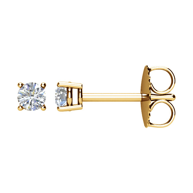 Beautiful 14 Karat Yellow Gold 0.20 Carat Total Weight Diamond Earrings